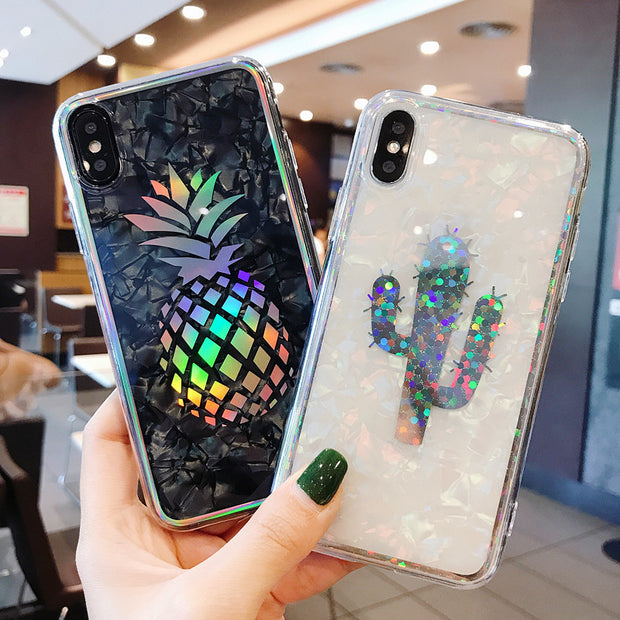 Laser Pineapple Cover Hard Plated Holo Marble Flamingo Cactus Chrome Shell Grain Case For IPhone XS Max XR X 6 6S 7 8 Plus Coque
