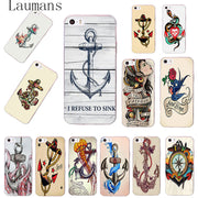 Laumans Boat Anchor Wood Transparent TPU Soft Cell Phone Protective Cover For IPhone 4s 5s 6s 7 8 Plus X Case