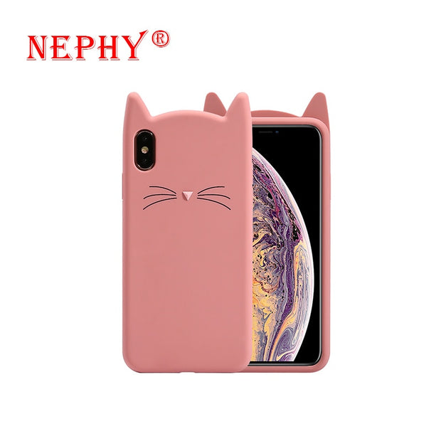 Lindo 3D Cartoon Beard For Iphone X XR XS Max Cellphone Case Soft Silicone Case Iphone 6 7 Protective Case 7 Plus Beard Cute Cat