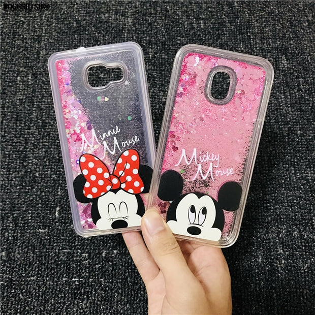 Liquid Case For Samsung A3 A5 A6 A7 A8 J3 J4 J5 J6 J7 Pro Prime Plus 2016 2017 2018 Note 8 9 Unicorn Minnie Soft Silicone Cover