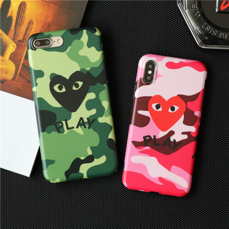 sale retailer 6e842 8fa39 Love CDG Play Comme Des Garcons Phone Cases For Iphone XS Max X XR 6 6S 7 8  Plus Case Camouflage Matte Soft Silicon Case Capa