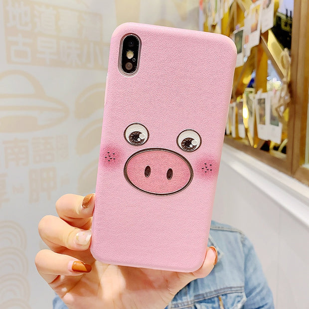 Lovebay Fashion Phone Case For IPhone 6 6S 7 8 Plus X XR XS Max Case Cartoon Cute Pink Pig Soft IMD For IPhone X Phone Back Case