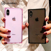 Lovebay Silicone Phone Case For IPhone X XR XS Max 6 6s 7 8 Plus Transparent Soft TPU Back Cover Square For IPhone X Case Coque