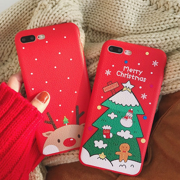 Christmas Phone Case Iphone Xr.Lovely Christmas Phone Case For Iphone Xs Max Xr X 8 7 6s 6 Plus Back Cover Fashion Stretch Ring Stand Cases Cute Elk Capa