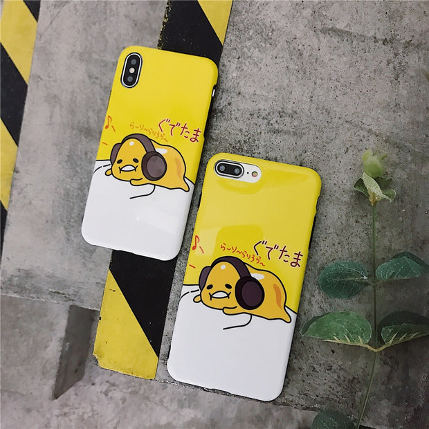 Lovely Funny Music Egg Yolk Phone Case For IPhone 7 Soft Full Protection Covers For IPhone 6S X 6 8 7 Plus Case Girl Style Capa