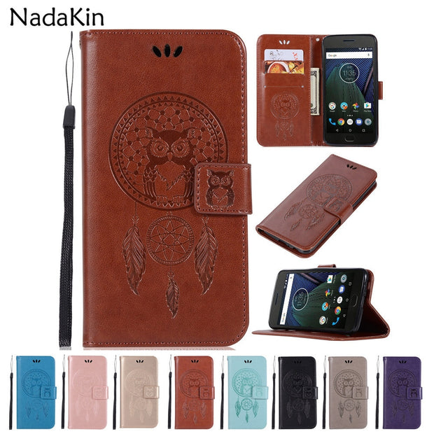 Lovely Owl Dreamcatcher Leather Case For Motorola Moto C G4 G5 G5S G6 E4 Plus EU Play 2017 2018 X4 Z Z2 Play Force Cover