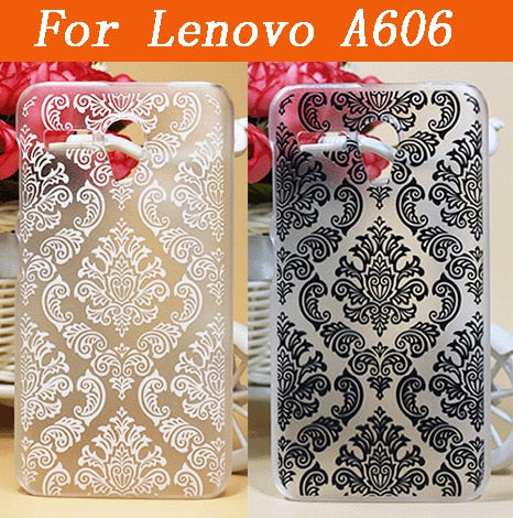 Luxury 3D DIY Vintage Black & White Flowers Case For Lenovo A606 Hard Protector Plastic Case Cover For Lenovo A606 Phone Case