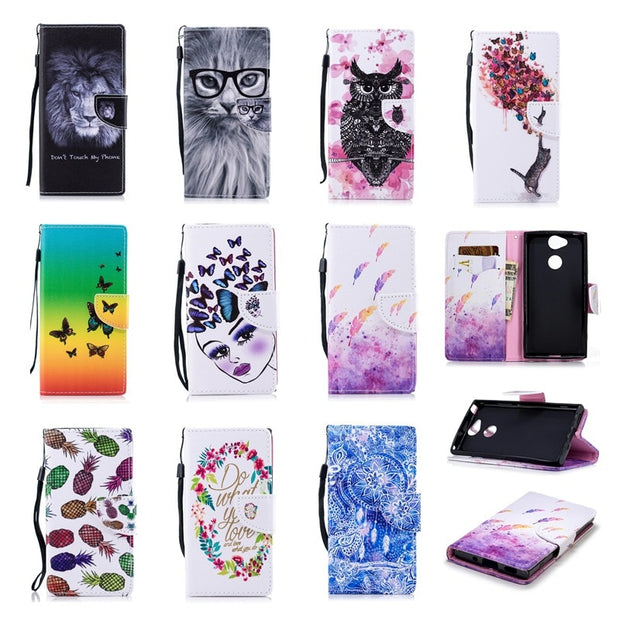 Luxury Capa Painted Feather Leather Retro Wallet Flip Stand Package Cases For SONY Xa2 Trend Cards Slot Case For Funda SONY Xa2
