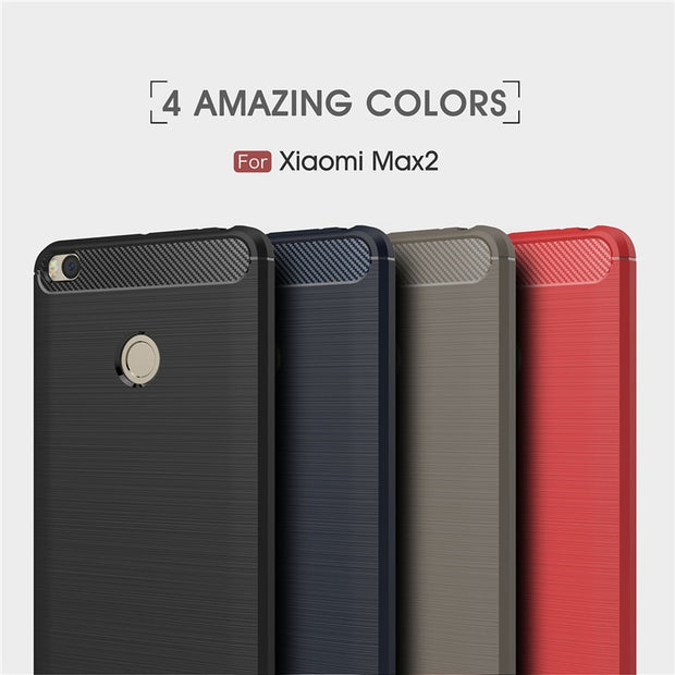 Luxury Carbon Fiber Case Xiaomi Mi Max 2 Case Cover Xiaomi Max 2 Anti-drop Soft Case Mi Max2 Cover Back Case Capa Coque Funda