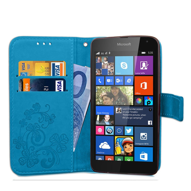 Luxury Clover Pattern Leather Case For Microsoft Lumia 535