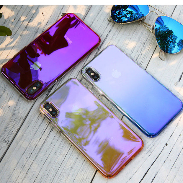 Luxury Colorful Blue-Ray Gradient Case For IPhone XS Max XR Transparent Clear Hard Back Cover For IPhone X XS 6 6S 7 8 Plus Case