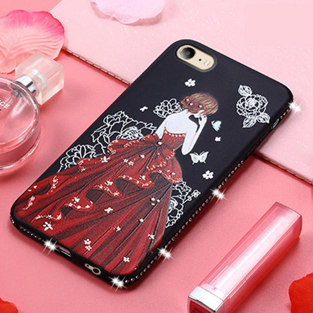 Luxury Glitter Diamond Case For Iphone 6 6s Soft TPU Beautiful Girls Rhinestone Cover For Iphone6 Iphone6s Housing Etui