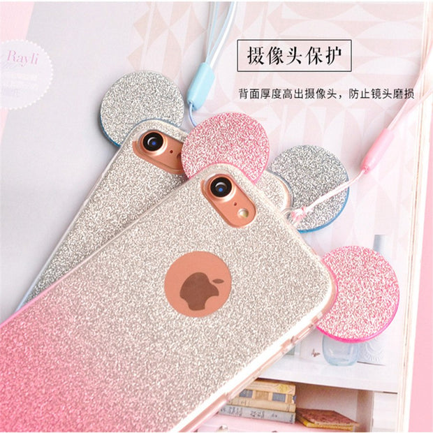 Luxury Grandient Mickey Ears Phone Case For Huawei P8 P9 P10 Lite Case For Huawei P8 Lite 2017,P9 Lite 2017 Back Cover Case