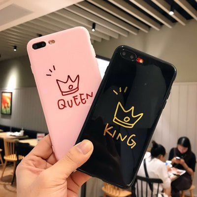 Luxury KING QUEEN Glossy Crown Couple Phone Case For IPhone X 8 Plus Soft TPU Silicon Shockproof Cover For IPhone 6 6S 7 Plus