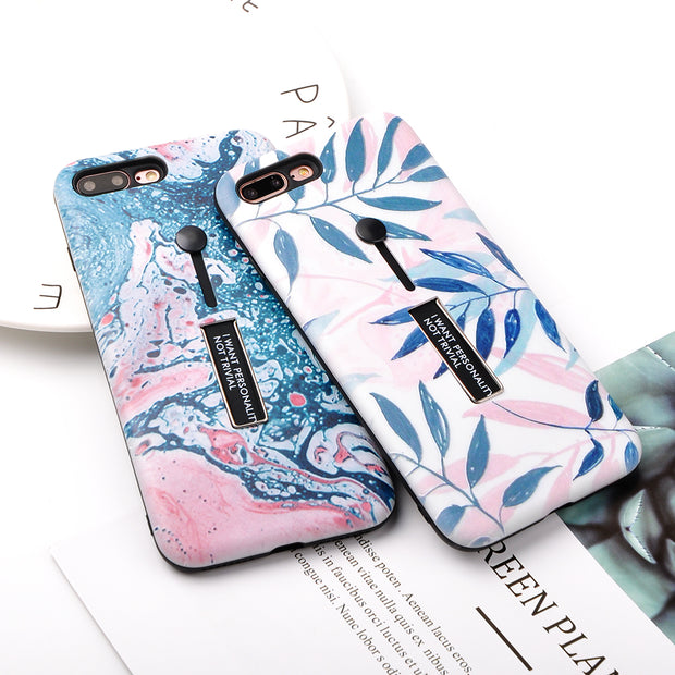 Luxury Leaf Style Phone Cases For Iphone X 6 6S Plus 7 8 Plus Hard PC Case With Hide Ring Holder Planet Pineapple Pattern Cover