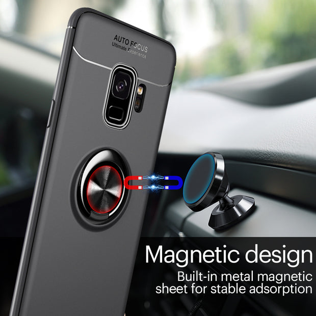 Luxury Magnetic Bracket Case For Samsung Galaxy S8 S9 Plus TPU Case For Samsung Note 9 8 Full Cover For Samsung J7 J3 J5 Ring
