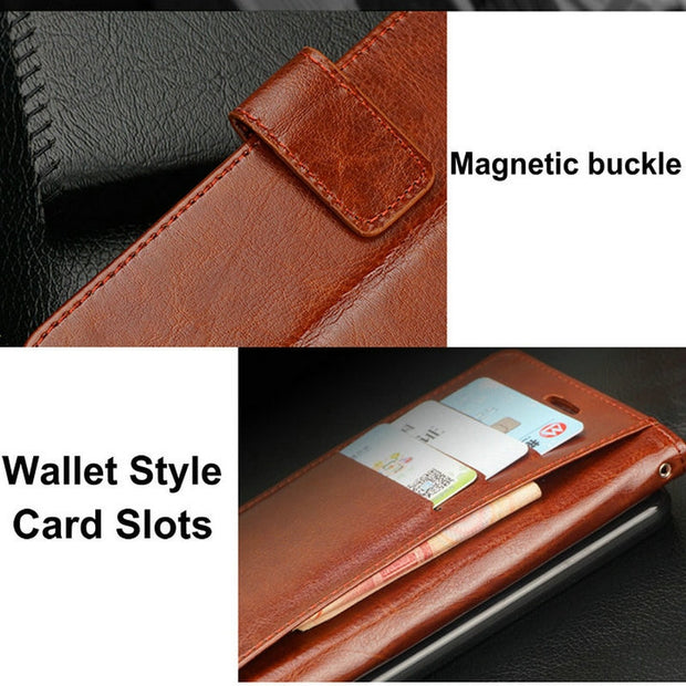 Luxury PU Leather Case For Huawei Y6 Pro 2017 / P9 Lite Mini Fundas Vintage Retro Wallet Slots Flip Stand Cover Phone Bags