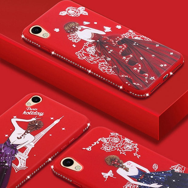 Luxury Rhinestone Pretty Girl Emboss Pattern For OPPO A39 A57 Carcasa Soft Silicone TPU Cover For OPPO A 39 A 57 Funda Coque