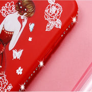 Luxury Rhinestone Pretty Girl Emboss Pattern For OPPO A53 Carcasa Soft Silicone TPU Cover For OPPO A53 A 53 Funda Coque