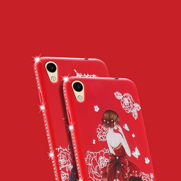 Luxury Rhinestone Pretty Girl Emboss Pattern Soft Silicone For OPPO A37 A 37 Carcasa Soft Silicone TPU Cover For OPPO A37 A 37