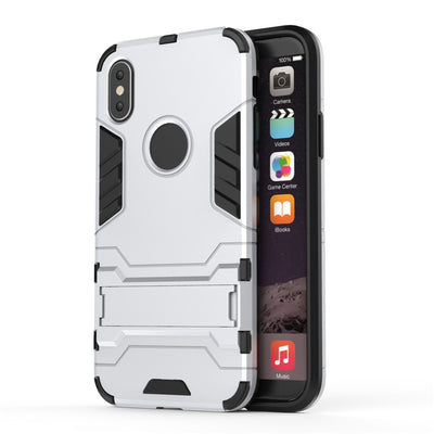 Luxury Shock Proof Holder Phone Case For IPhone 8 / 8 Plus / 7 Plus TPU + PC Coque Heavy Armor Back Cover For IPhone X 5 6s Plus