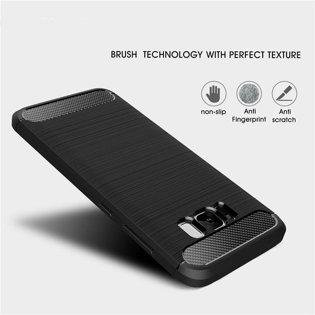 Luxury Silicon Carbon Fiber Case For Samsung Galaxy J3 J5 J7 A3 A5 A7 2016 2017 2018 S6 S7 Edge S8 S9 Plus Soft TPU Cover Cases