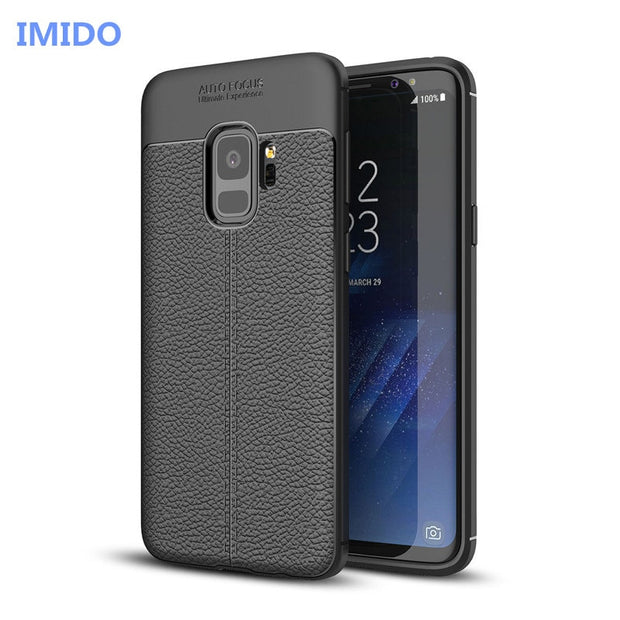 Luxury Silicone Litchi Leather Carbon Fiber Cover Case For Samsung Galaxy S9 S8 Plus S6 S7 Edge Phone Case For Samsung Note 8