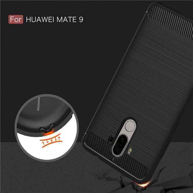 Luxury Soft Carbon Fiber TPU Cases For Huawei Mate 9 Case Slim Shockproof Protection Capa Fundas Coque For Huawei Mate 9 Cover