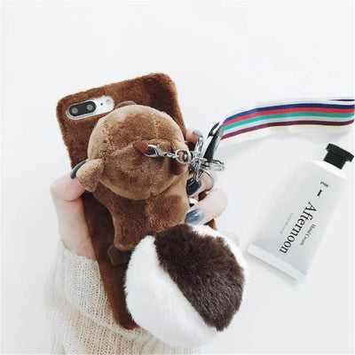 Luxury Warm Cute Case For IPhone 7 7 Plus 6 6S Plus X Phone Cases Squirrel PC Furry Back Cover For IPhone X 10 8 Funda Christmas