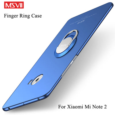 MSVII Cases For Xiaomi Mi Note 2 Case Cover Finger Ring Slim Matte Cases Xiaomi Note 2 Case Mi Note2 Metal Car Holder Cover 5.7""