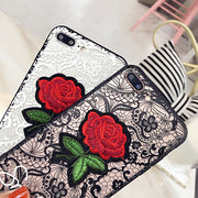MYSUN LACE Case For Iphone X Sexy Rose Phone Case Hand Rope Cover For Iphone 7 8plus Hard PC Back Soft TPU Bumper For Iphone 6s