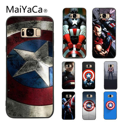 MaiYaCa Case For Galaxy S9 Capitan America Novelty Fundas Phone Case Cover For Samsung Galaxy S5 S6 S7 S8 S9 S9 Plus