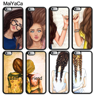 MaiYaCa Girls Brunette Blonde Best Friends BFF Matching Printed Mobile Phone Cases For IPhone 6S 7 8 Plus X XR XS MAX 5 SE Cover