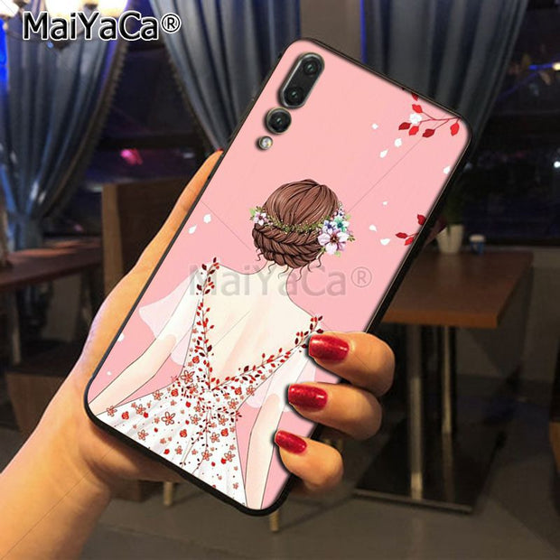 Maiyaca Art Wedding Girl Adorable Colored Drawing Phone Accessories Case For Huawei Honor 9 Honor 10 P20 Case Coque
