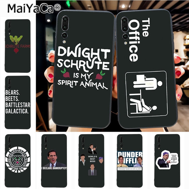 Maiyaca TV The Office Cast Meme Michael Scott Lovely Black Tpu Phone Case For Huawei P20 P20 Pro Mate10 P10 Plus Honor9 Case