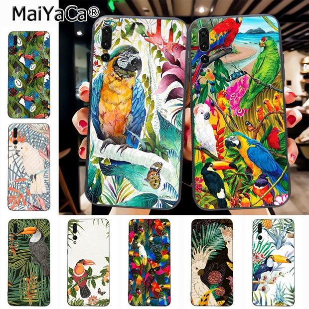 Maiyaca Tropical Plants Toucan Parrot Originalblack Tpu Phone Case Cover For Huawei P20 P20 Pro Mate10 P10 Plus Honor9 Cass