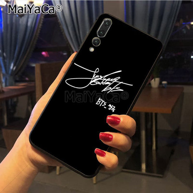 Maiyaca Bts Signature Hot Selling Fashion Phone Case Cover For Huawei P20 P20 Pro Honor9 Mate10 Case Cover