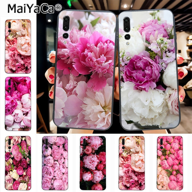 Maiyaca Flower Peony Pink Fresh Peonies Classic Geometric Print Phone Accessories Case For Huawei Honor 9 Honor 10 P20 Case