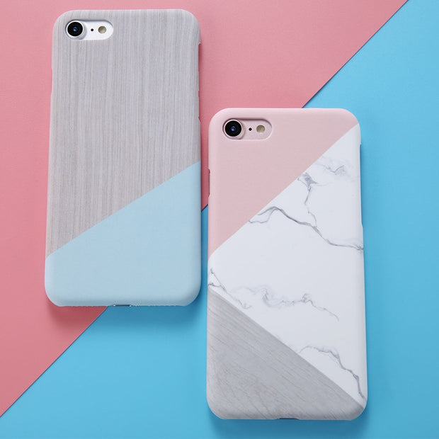 Marble Pattern Hard Plastic Back Case For IPhone 6s Plus Hit Color Splicing Color Thin Protective Cover Cases For IPhone 7 7Plus