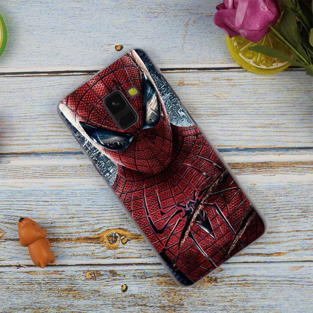 Marvel Comics Spider Man Hot Fashion Transparent Case For Samsung Galaxy A3 A5 A9 A7 A6 A8 Plus 2018 2017 2016 Star A6S Note 9 8
