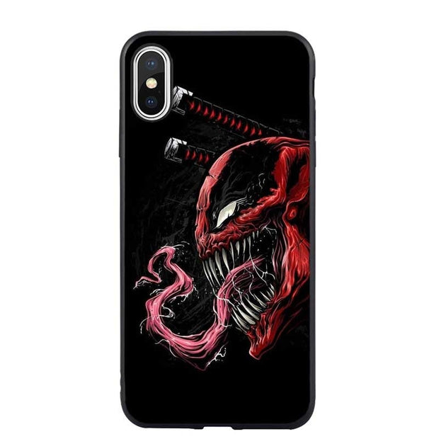Marvel Venom SpiderMan Deadpool Soft Phone Case For IPhone 5 S SE X Back Cover For IPhone 6s 6 7 7Plus 8 8 Plus XS Max XR Coque