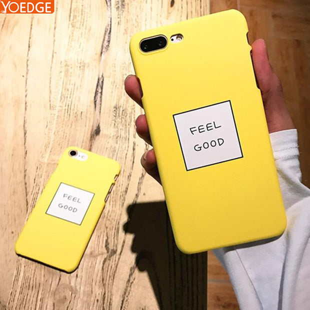 low priced f35ce 15f9c Matte Yellow Color Letter Case For IPhone 6S 7 8 Plus Case Lovely Hard PC  Back Cove For IPhone 6 7 8Plus Coque Fundas Capa