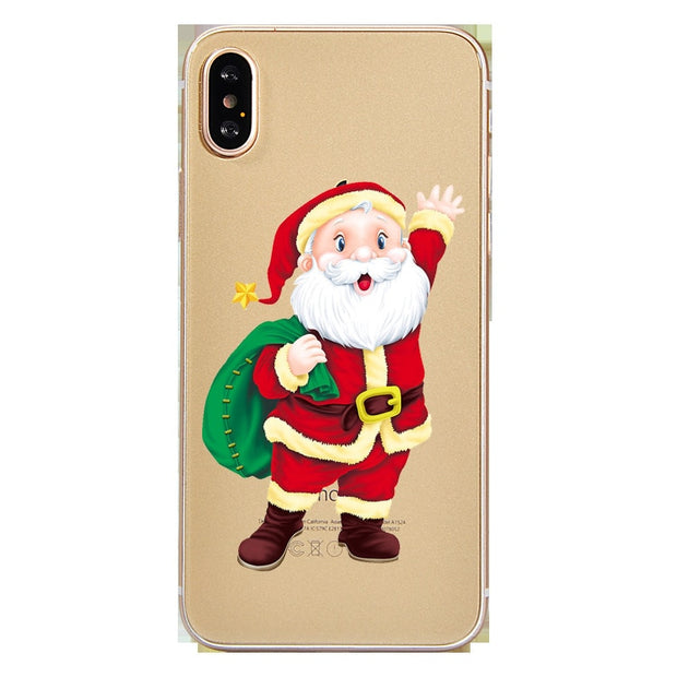 Merry Christmas 2018 New Year 2019 Elk Snowman Christmas Tree Phone Case For Iphone 5 5S SE 6 6S 7 8 Plus X XR XS Max Cover