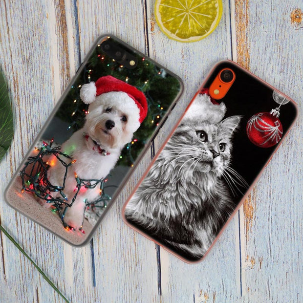 Merry Christmas Cute Animal Hot Fashion Transparent Hard Phone Cover Case For IPhone X XS Max XR 8 7 6 6s Plus 5 SE 5C 4 4S