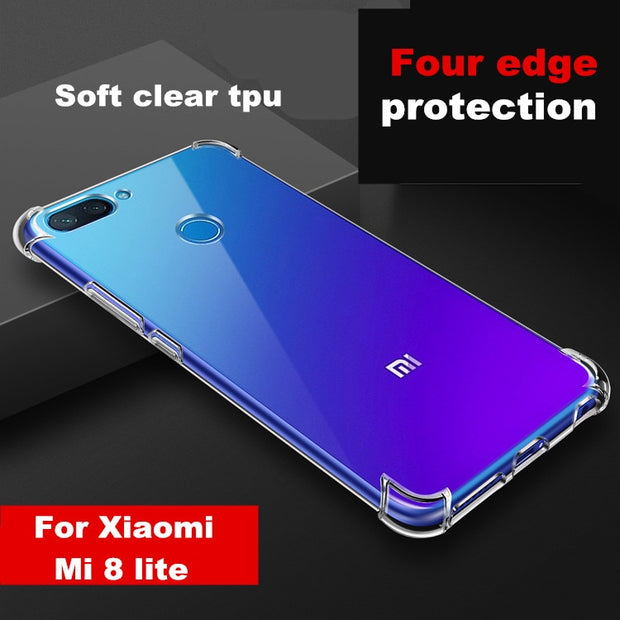 "Mi8 Lite Four Edge Shatter-Proof Soft Clear Silicone TPU Cover Case For Xiaomi Mi 8 Lite 8X 6.26"" Phone Case Transparent Cover"