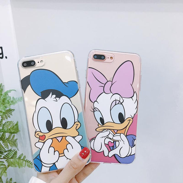Mickey Mouse Donald Duck STITCH Phone Case For Iphone 8 Case For Iphone X 6S 6 7 8 Plus DisneyCartoon Finger Heart Cases Lovers