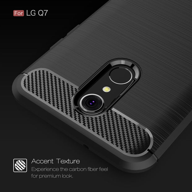 MicroData For LG Q7 Soft Silicone Carbon Fibre On LG Q7 Case