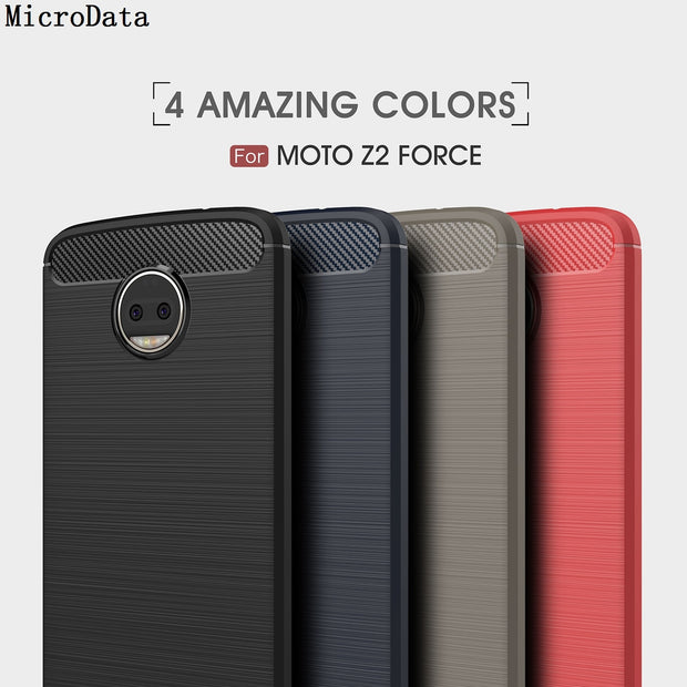 MicroData For Motorola Moto Z2 Force Soft Silicone Carbon Fibre On Moto Z2 Force Case
