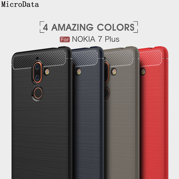 MicroData For Nokia 7 Plus TA-1062 6.0 Inch Soft Silicone Carbon Fibre On Nokia 7 Plus TA-1062 6.0 Inch Case