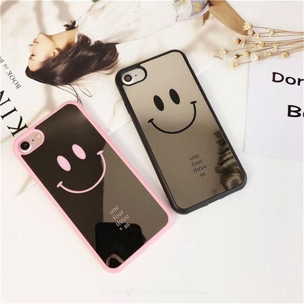 Mirror Skin Black White Smile Emoji Soft TPU Phone Case For Iphone 7 8 6 6S Plus Case Mirror Cute Smile Face Couple For Iphone 7
